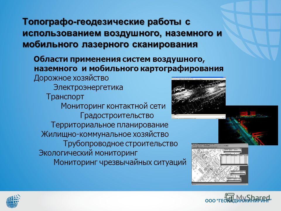 Топографо-геодезические работы с использованием воздушного, наземного и мобильного лазерного сканирования Области применения систем воздушного, наземного и мобильного картографирования Дорожное хозяйство Электроэнергетика Транспорт Мониторинг контакт