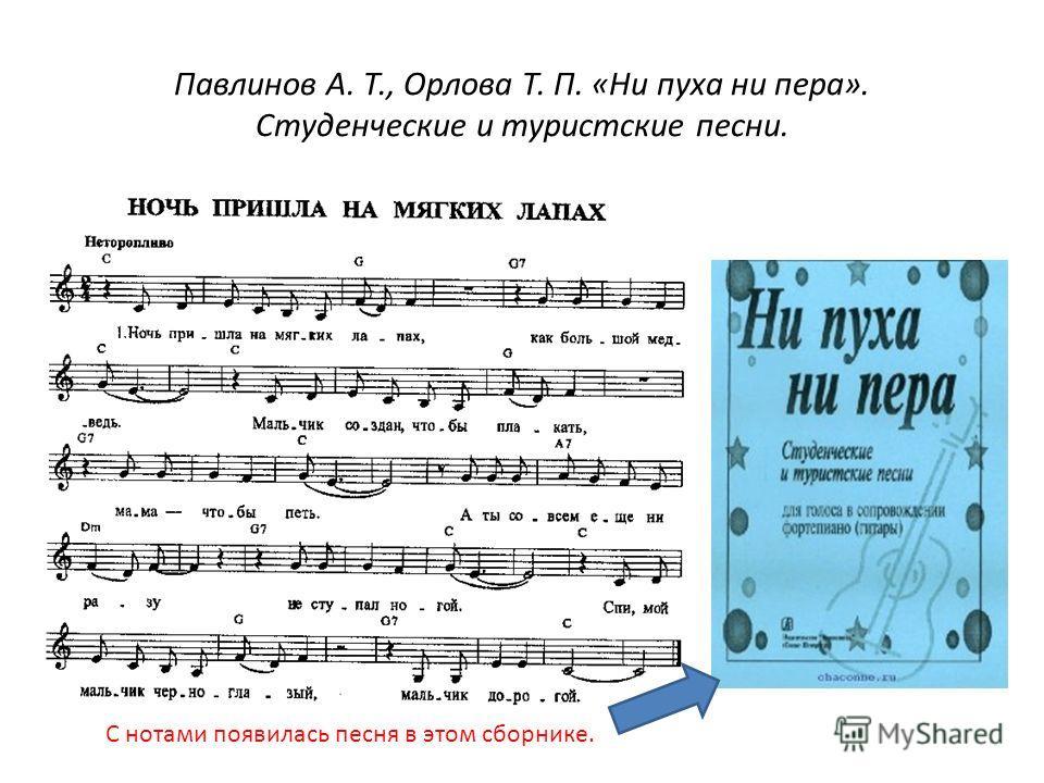 Павлинов А. Т., Орлова Т. П. «Ни пуха ни пера». Студенческие и туристские песни. С нотами появилась песня в этом сборнике.