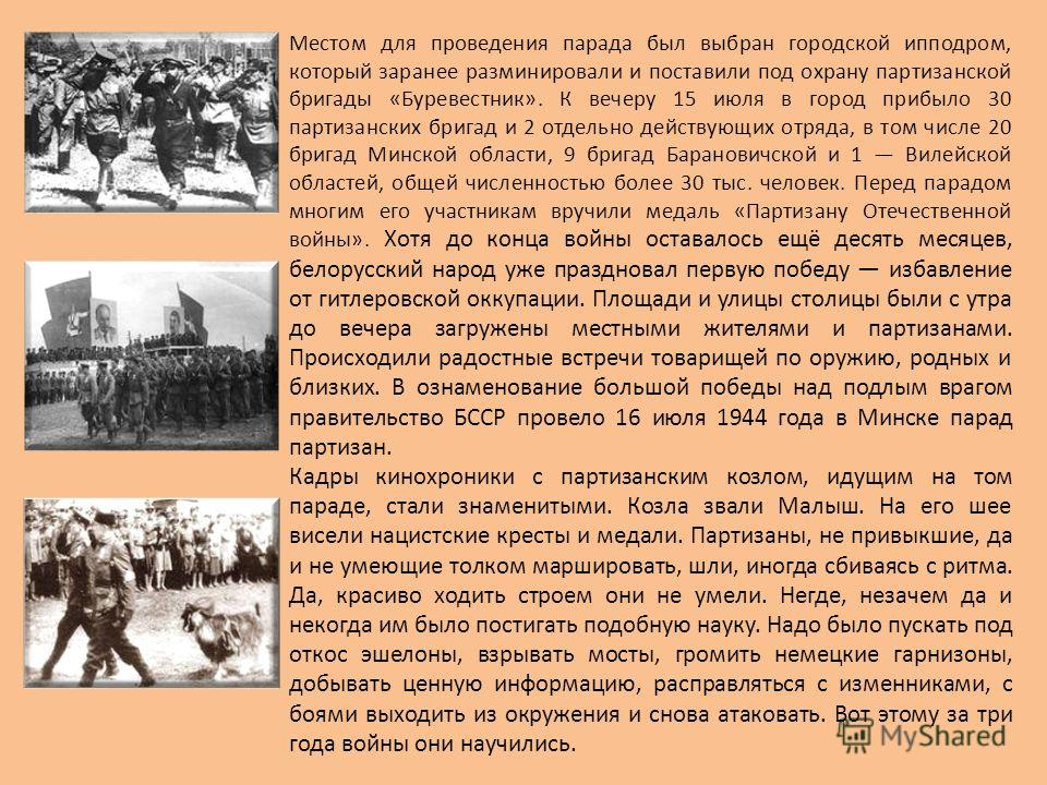Местом для проведения парада был выбран городской ипподром, который заранее разминировали и поставили под охрану партизанской бригады «Буревестник». К вечеру 15 июля в город прибыло 30 партизанских бригад и 2 отдельно действующих отряда, в том числе