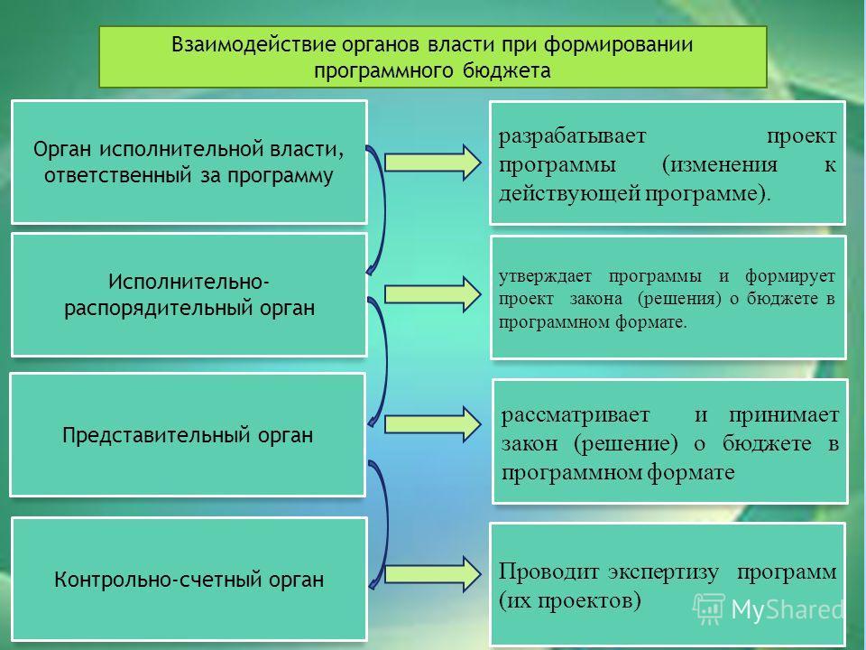 Взаимодействие органов власти при формировании программного бюджета Орган исполнительной власти, ответственный за программу разрабатывает проект программы (изменения к действующей программе). Исполнительно- распорядительный орган утверждает программы