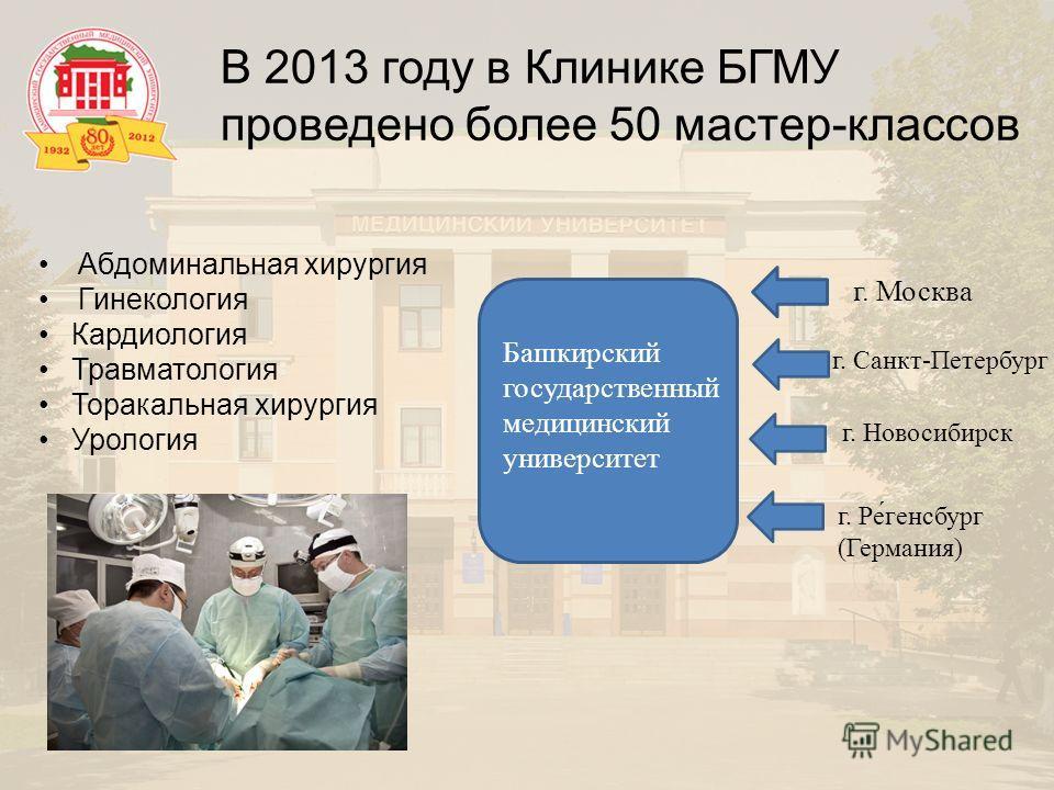 В 2013 году в Клинике БГМУ проведено более 50 мастер-классов Абдоминальная хирургия Гинекология Кардиология Травматология Торакальная хирургия Урология г. Москва г. Санкт-Петербург г. Новосибирск г. Ре́генсбург (Германия) Башкирский государственный м