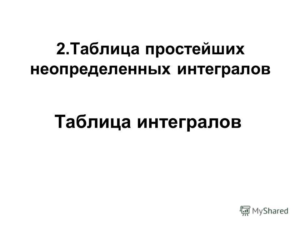 2.Таблица простейших неопределенных интегралов Таблица интегралов
