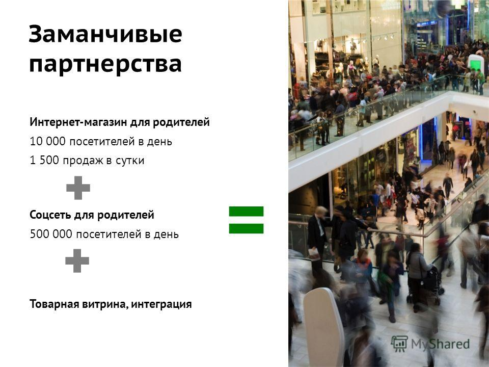Заманчивые партнерства Интернет-магазин для родителей 10 000 посетителей в день 1 500 продаж в сутки Соцсеть для родителей 500 000 посетителей в день Товарная витрина, интеграция