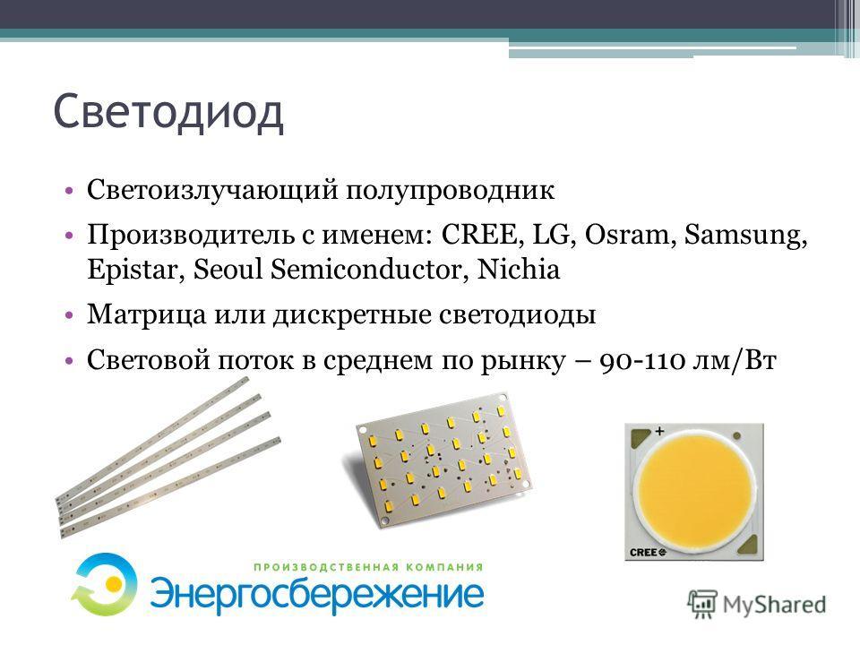 Светодиод Светоизлучающий полупроводник Производитель с именем: CREE, LG, Osram, Samsung, Epistar, Seoul Semiconductor, Nichia Матрица или дискретные светодиоды Световой поток в среднем по рынку – 90-110 лм/Вт