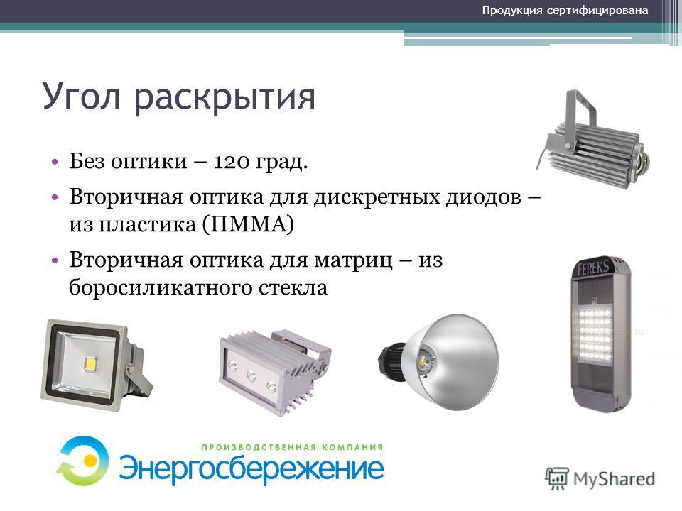 Угол раскрытия Без оптики – 120 град. Вторичная оптика для дискретных диодов – из пластика (ПММА) Вторичная оптика для матриц – из боросиликатного стекла Продукция сертифицирована