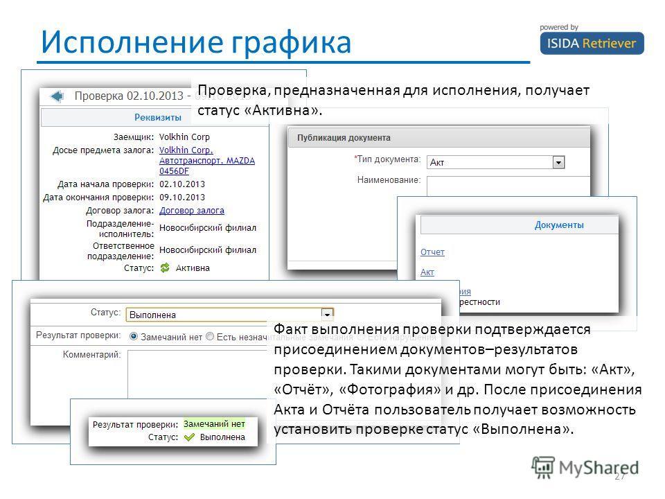 Исполнение графика 27 Проверка, предназначенная для исполнения, получает статус «Активна». Факт выполнения проверки подтверждается присоединением документов–результатов проверки. Такими документами могут быть: «Акт», «Отчёт», «Фотография» и др. После