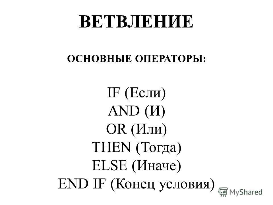 ОСНОВНЫЕ ОПЕРАТОРЫ: IF (Если) AND (И) OR (Или) THEN (Тогда) ELSE (Иначе) END IF (Конец условия) ВЕТВЛЕНИЕ