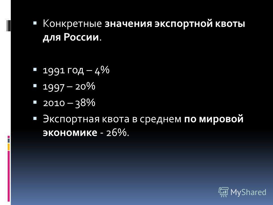 Конкретные значения экспортной квоты для России. 1991 год – 4% 1997 – 20% 2010 – 38% Экспортная квота в среднем по мировой экономике - 26%.