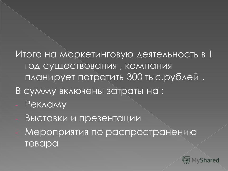 Итого на маркетинговую деятельность в 1 год существования, компания планирует потратить 300 тыс.рублей. В сумму включены затраты на : - Рекламу - Выставки и презентации - Мероприятия по распространению товара