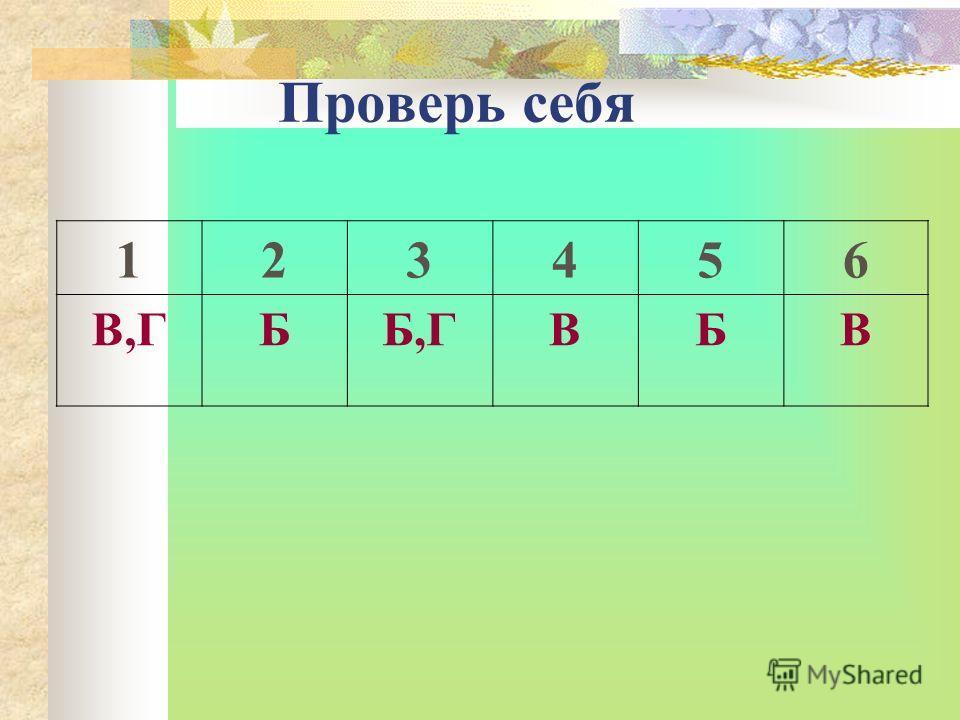 Проверь себя 123456 В,ГББ,ГВБВ