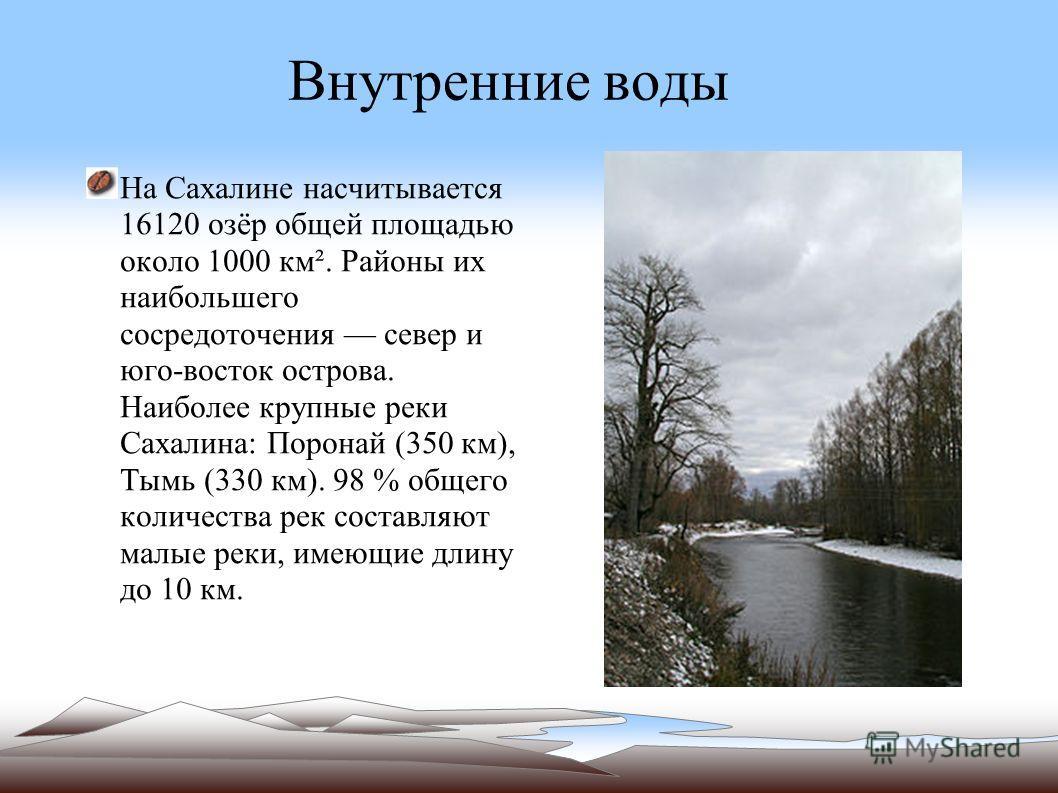 Внутренние воды На Сахалине насчитывается 16120 озёр общей площадью около 1000 км². Районы их наибольшего сосредоточения север и юго-восток острова. Наиболее крупные реки Сахалина: Поронай (350 км), Тымь (330 км). 98 % общего количества рек составляю