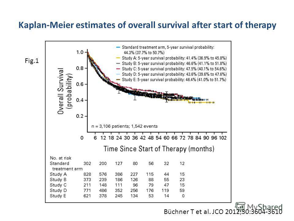 Kaplan-Meier estimates of overall survival after start of therapy Büchner T et al. JCO 2012;30:3604-3610 Fig.1