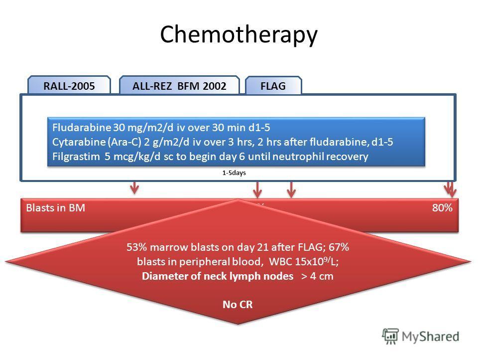 Chemotherapy Blasts in BM 50% 25% 60% No CR Blasts in BM 50% 25% 60% No CR RALL-2005 PRED 60 mg/m 2 Dexa 10 mg/m 2 8-28 days DNR 45 mg/m 2 8, 15,22, 29 days VCR 2 mg 8, 15,22, 29 days Dexa 10 mg/m 2 8-28 days DNR 45 mg/m 2 8, 15,22, 29 days VCR 2 mg