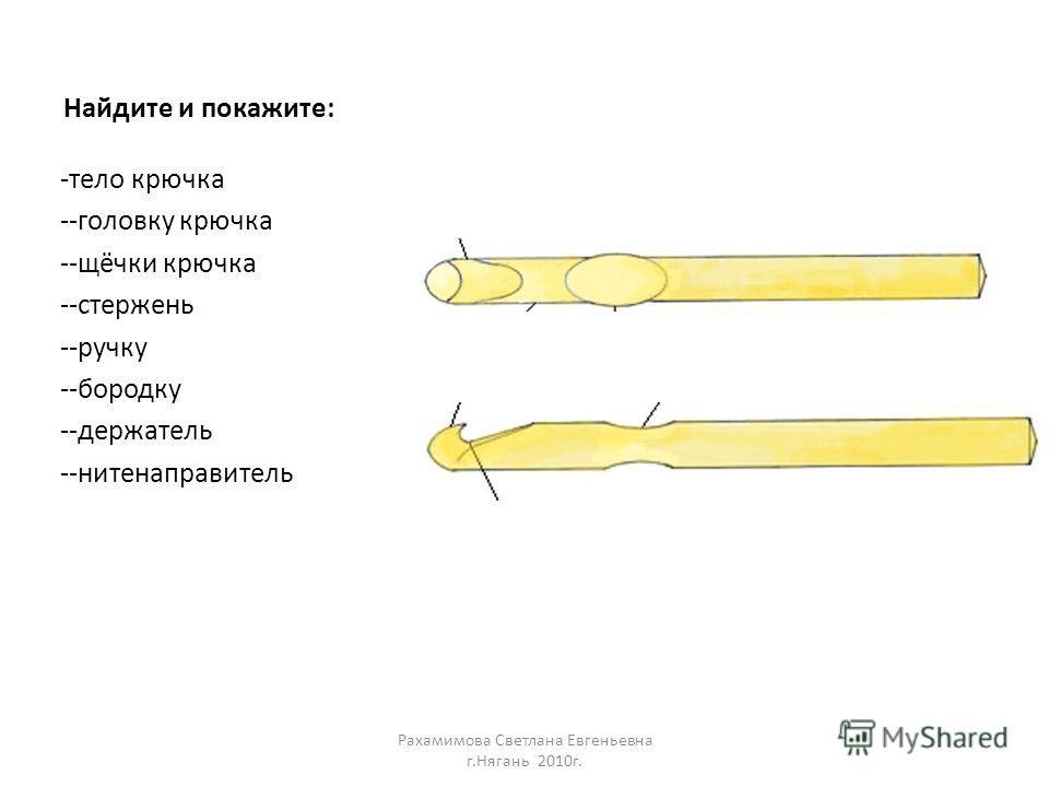 Найдите и покажите: -тело крючка --головку крючка --щёчки крючка --стержень --ручку --бородку --держатель --нитенаправитель Рахамимова Светлана Евгеньевна г.Нягань 2010г.