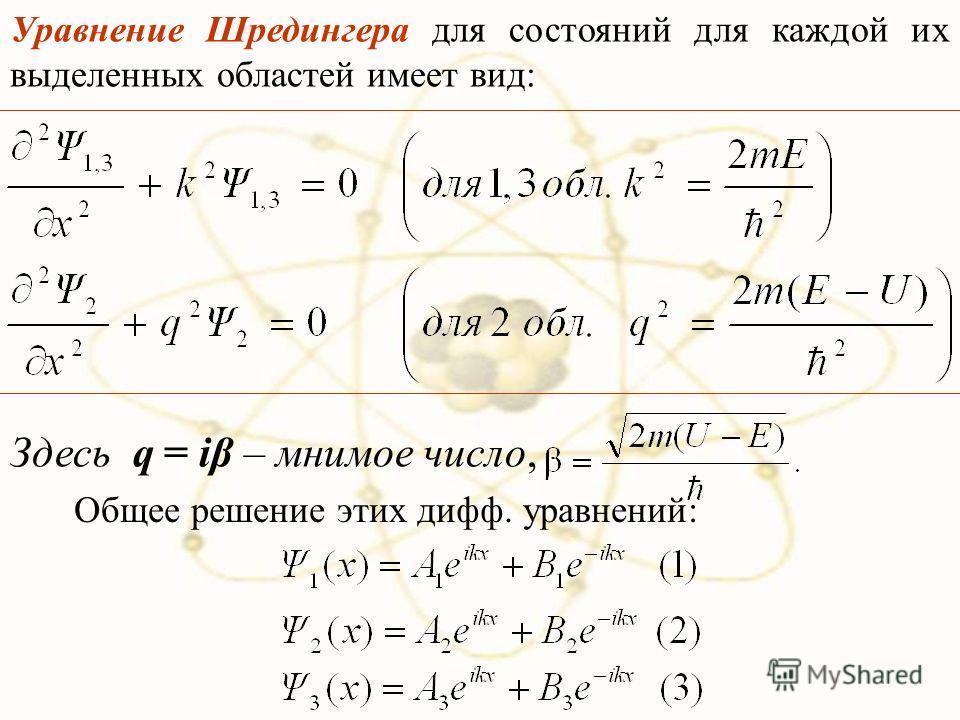 Уравнение Шредингера для состояний для каждой их выделенных областей имеет вид: Общее решение этих дифф. уравнений: Здесь q = iβ – мнимое число,