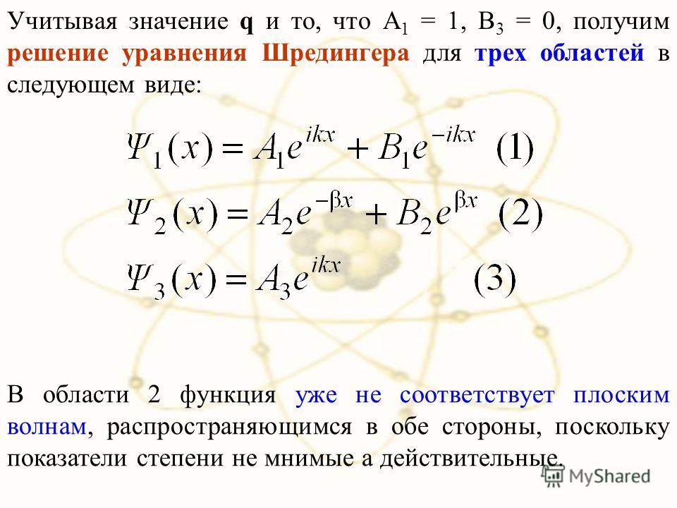 Учитывая значение q и то, что А 1 = 1, B 3 = 0, получим решение уравнения Шредингера для трех областей в следующем виде: В области 2 функция уже не соответствует плоским волнам, распространяющимся в обе стороны, поскольку показатели степени не мнимые