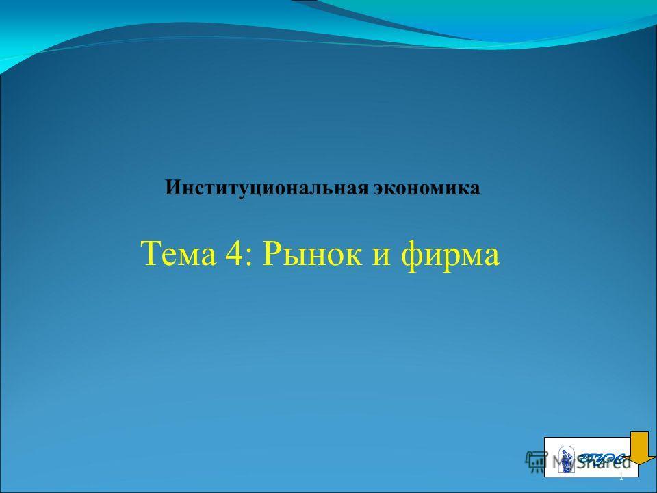 Тема 4: Рынок и фирма 1