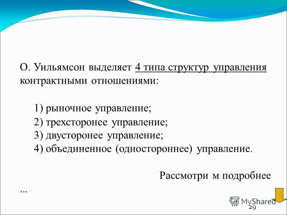 29 О. Уильямсон выделяет 4 типа структур управления контрактными отношениями: 1) рыночное управление; 2) трехсторонее управление; 3) двусторонее управление; 4) объединенное (одностороннее) управление. Рассмотри м подробнее...