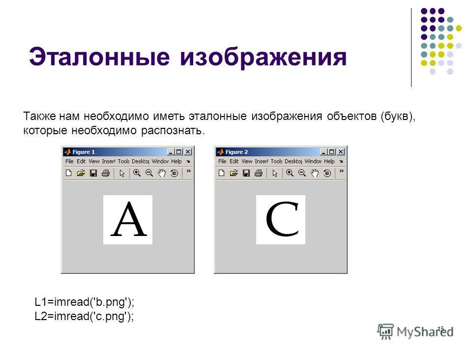 15 Эталонные изображения Также нам необходимо иметь эталонные изображения объектов (букв), которые необходимо распознать. L1=imread('b.png'); L2=imread('c.png');