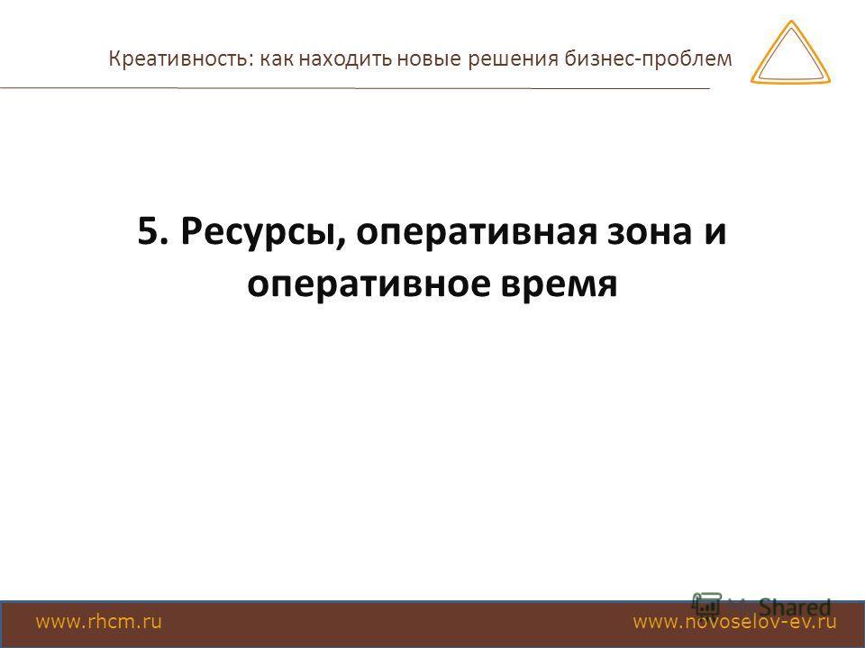 Креативность: как находить новые решения бизнес-проблем 5. Ресурсы, оперативная зона и оперативное время www.rhcm.ru www.novoselov-ev.ru