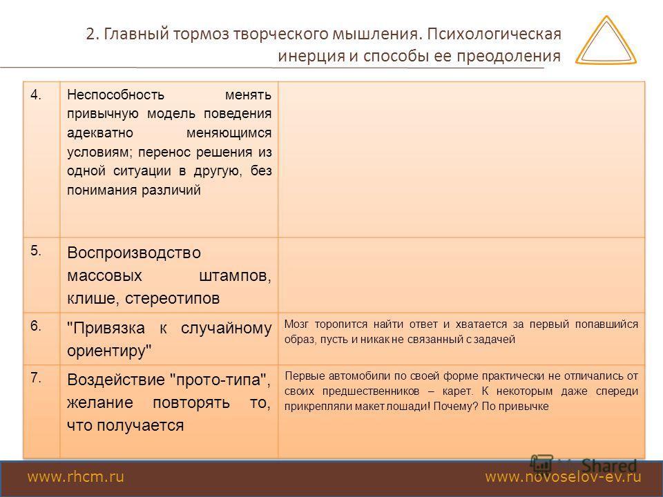 2. Главный тормоз творческого мышления. Психологическая инерция и способы ее преодоления www.rhcm.ru www.novoselov-ev.ru