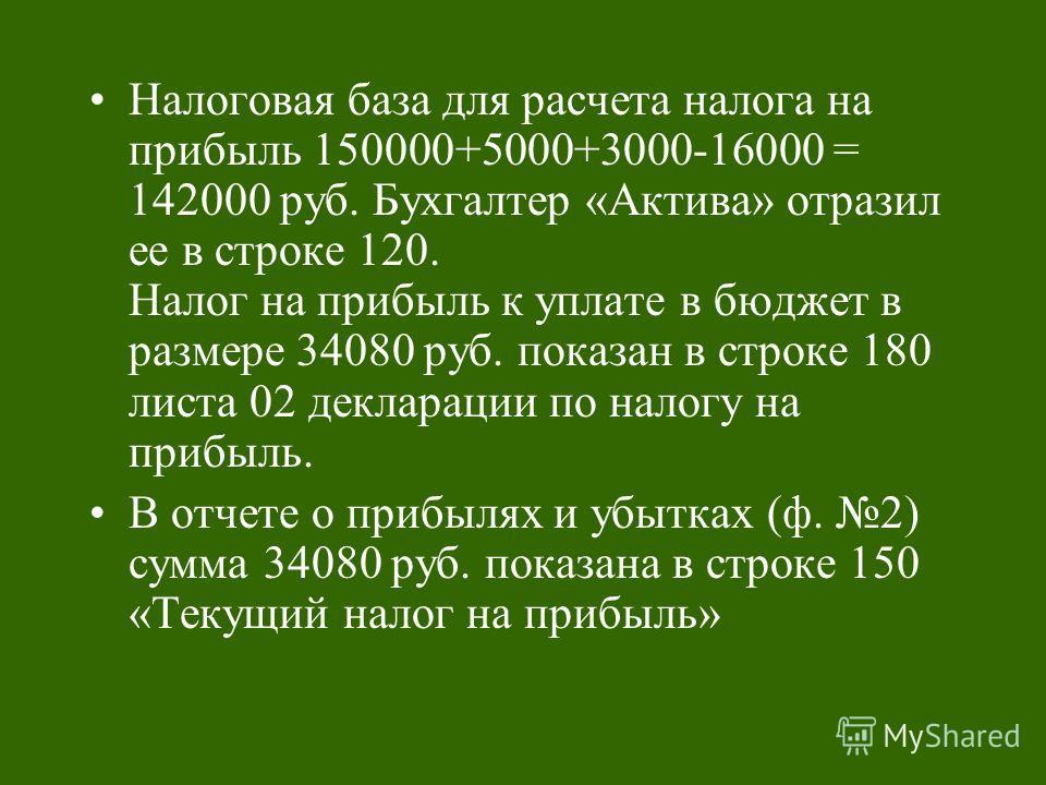 Налоговая база для расчета налога на прибыль 150000+5000+3000-16000 = 142000 руб. Бухгалтер «Актива» отразил ее в строке 120. Налог на прибыль к уплате в бюджет в размере 34080 руб. показан в строке 180 листа 02 декларации по налогу на прибыль. В отч