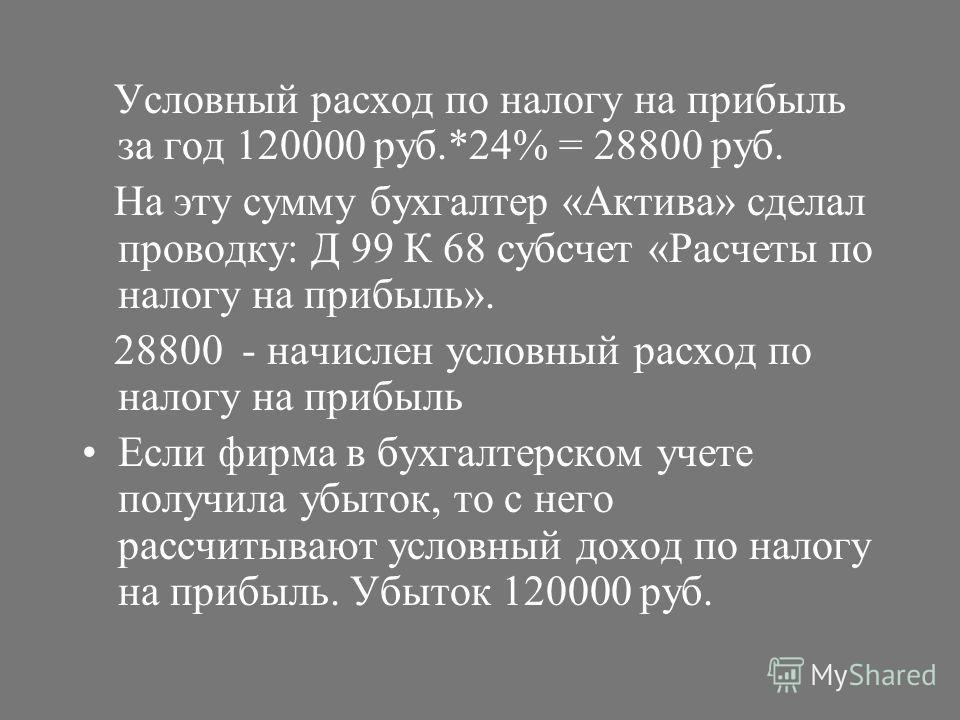 Условный расход по налогу на прибыль за год 120000 руб.*24% = 28800 руб. На эту сумму бухгалтер «Актива» сделал проводку: Д 99 К 68 субсчет «Расчеты по налогу на прибыль». 28800 - начислен условный расход по налогу на прибыль Если фирма в бухгалтерск
