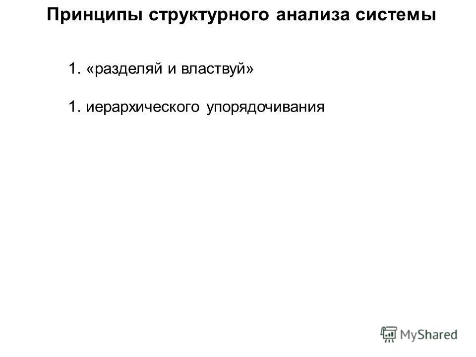 Принципы структурного анализа системы 1.«разделяй и властвуй» 1.иерархического упорядочивания