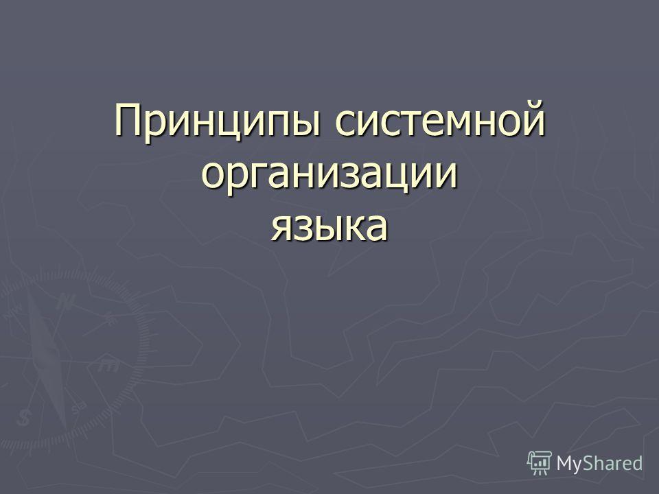 Принципы системной организации языка
