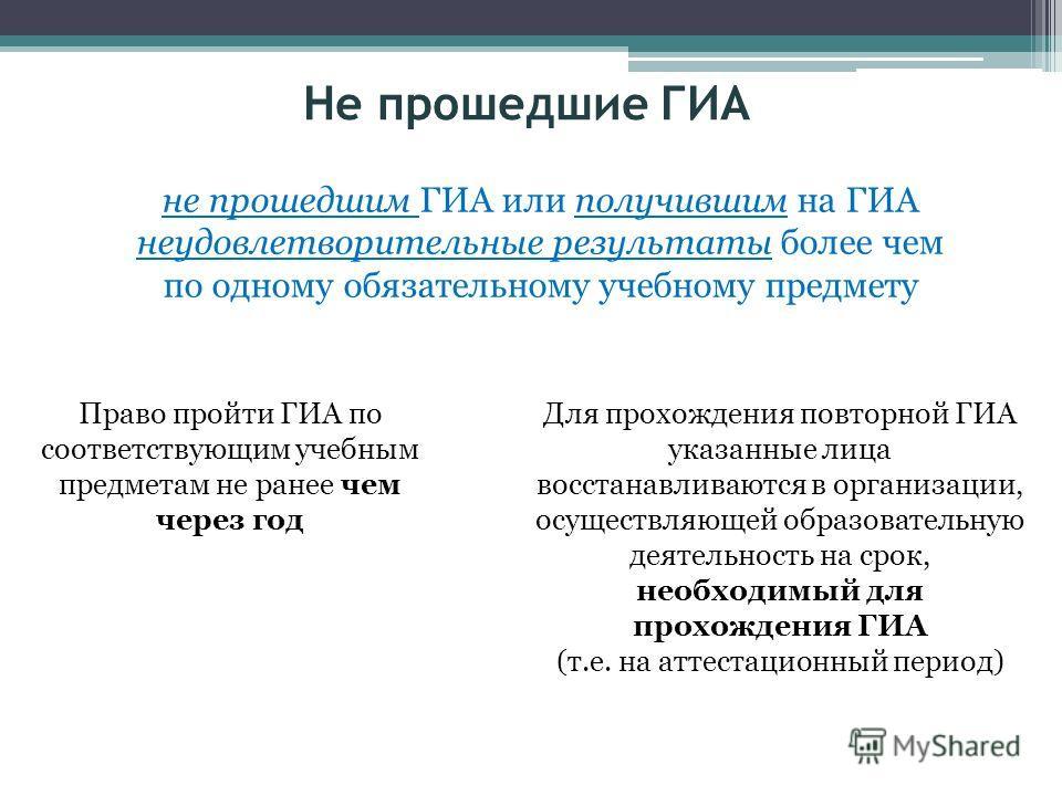 Не прошедшие ГИА Право пройти ГИА по соответствующим учебным предметам не ранее чем через год Для прохождения повторной ГИА указанные лица восстанавливаются в организации, осуществляющей образовательную деятельность на срок, необходимый для прохожден
