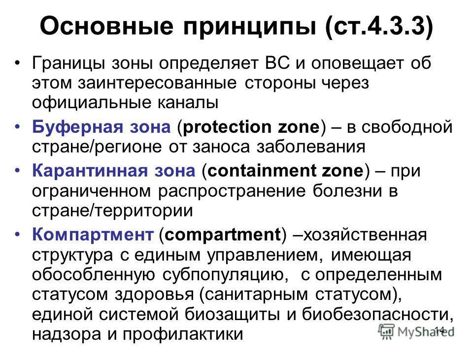 14 Основные принципы (ст.4.3.3) Границы зоны определяет ВС и оповещает об этом заинтересованные стороны через официальные каналы Буферная зона (protection zone) – в свободной стране/регионе от заноса заболевания Карантинная зона (containment zone) –