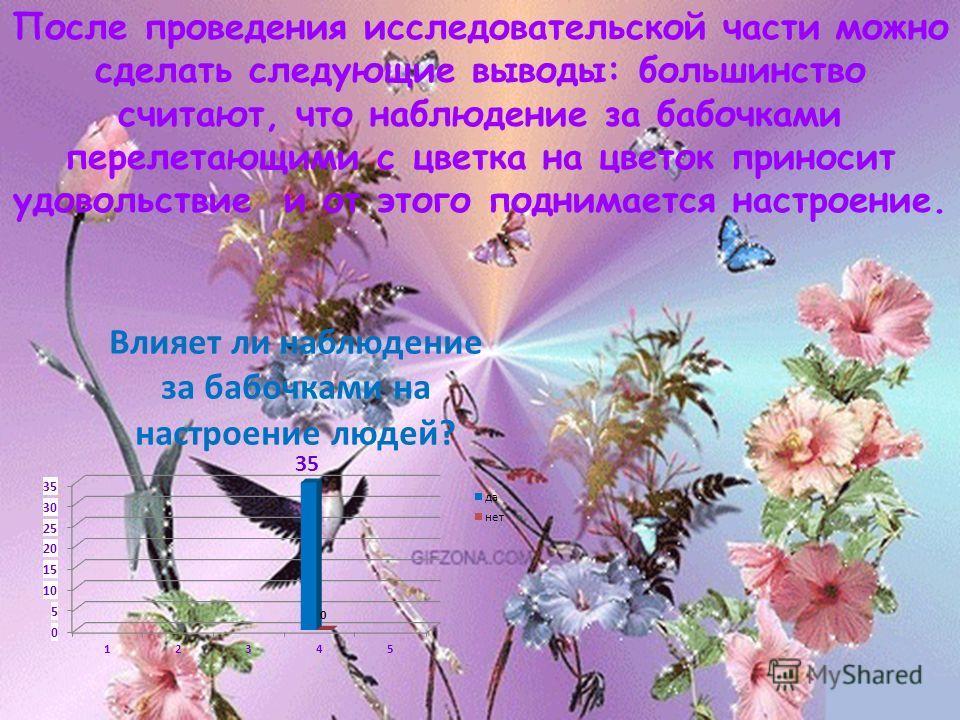 После проведения исследовательской части можно сделать следующие выводы: большинство считают, что наблюдение за бабочками перелетающими с цветка на цветок приносит удовольствие и от этого поднимается настроение.