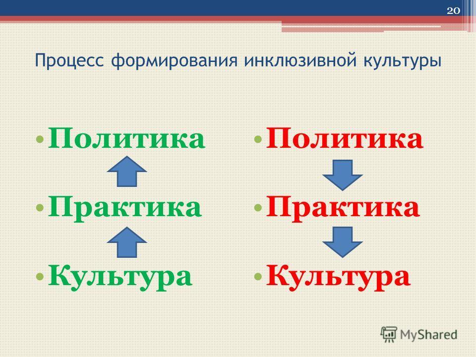 Процесс формирования инклюзивной культуры Политика Практика Культура Политика Практика Культура 20