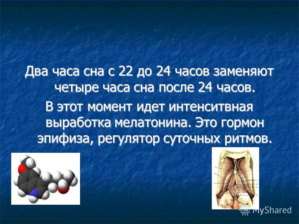 Два часа сна с 22 до 24 часов заменяют четыре часа сна после 24 часов. В этот момент идет интенситвная выработка мелатонина. Это гормон эпифиза, регулятор суточных ритмов.