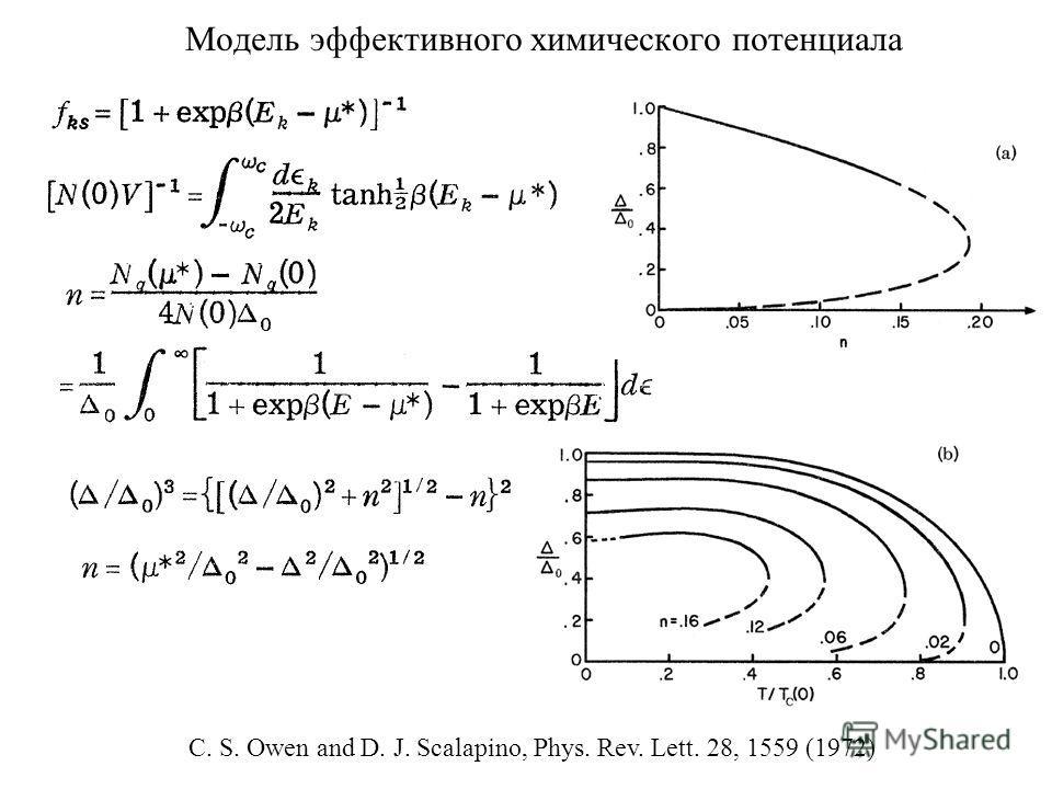 Модель эффективного химического потенциала C. S. Owen and D. J. Scalapino, Phys. Rev. Lett. 28, 1559 (1972)