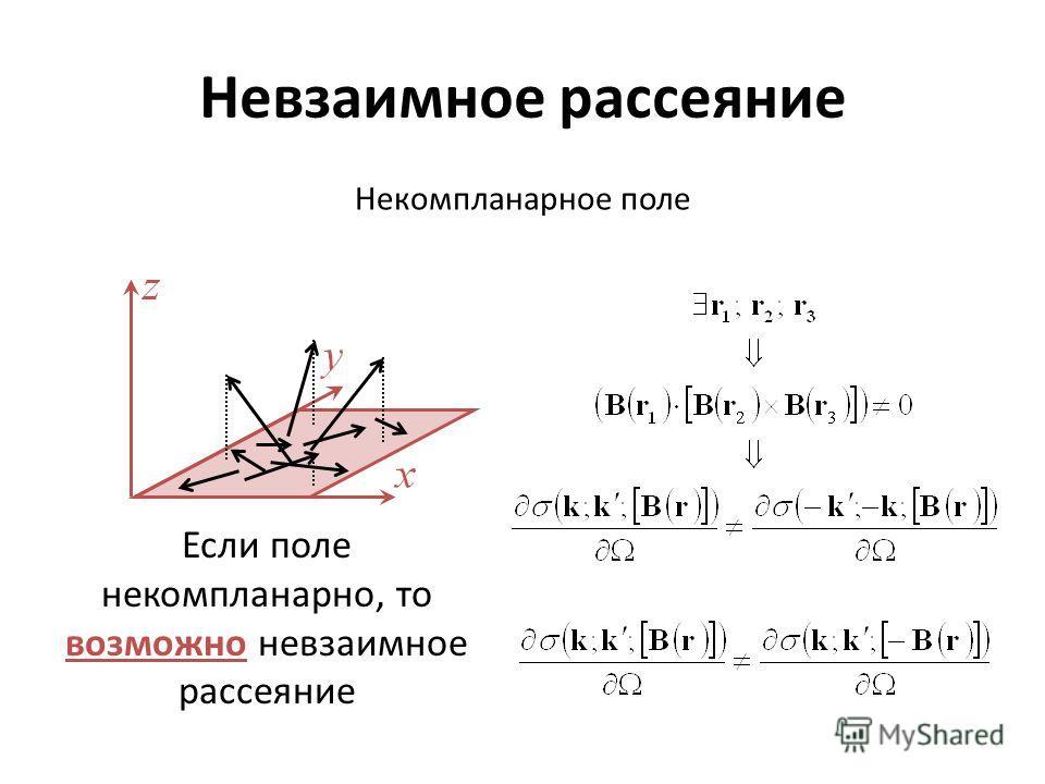 Невзаимное рассеяние Некомпланарное поле Если поле некомпланарно, то возможно невзаимное рассеяние
