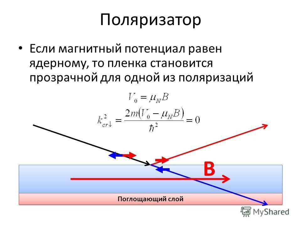 Поляризатор Если магнитный потенциал равен ядерному, то пленка становится прозрачной для одной из поляризаций Поглощающий слой B