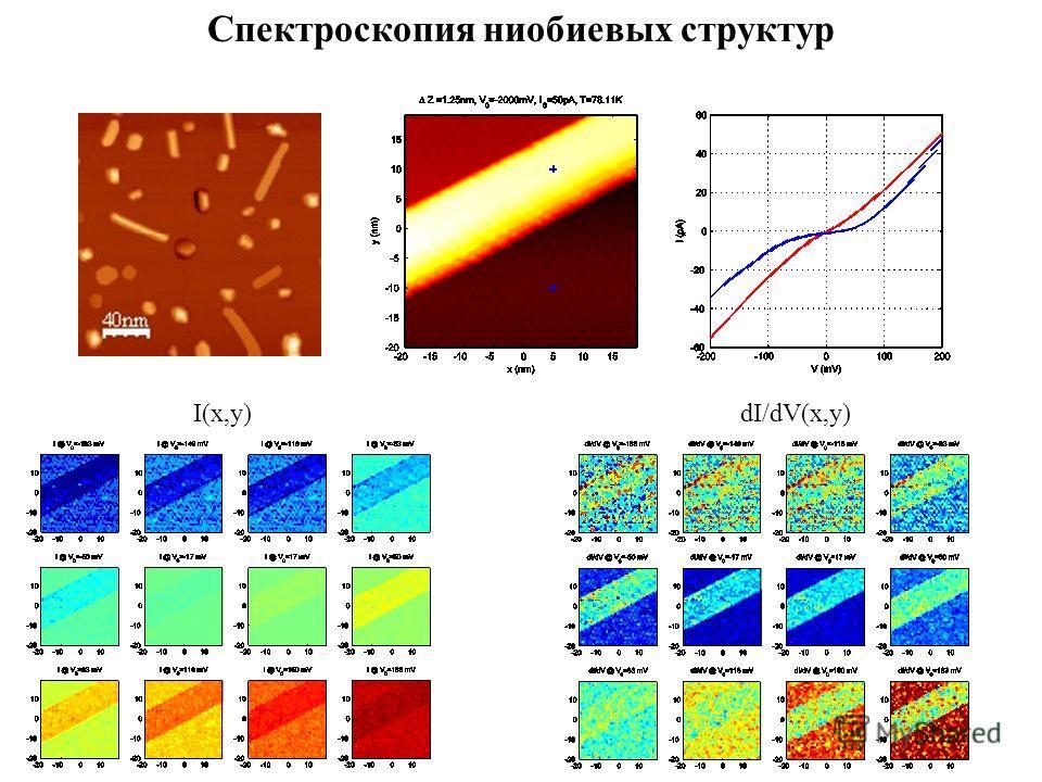Спектроскопия ниобиевых структур I(x,y)dI/dV(x,y)