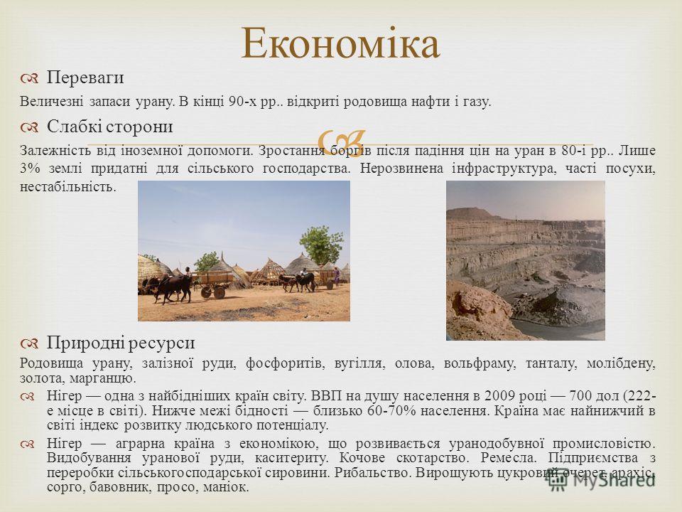 Переваги Величезні запаси урану. В кінці 90- х рр.. відкриті родовища нафти і газу. Слабкі сторони Залежність від іноземної допомоги. Зростання боргів після падіння цін на уран в 80- і рр.. Лише 3% землі придатні для сільського господарства. Нерозвин