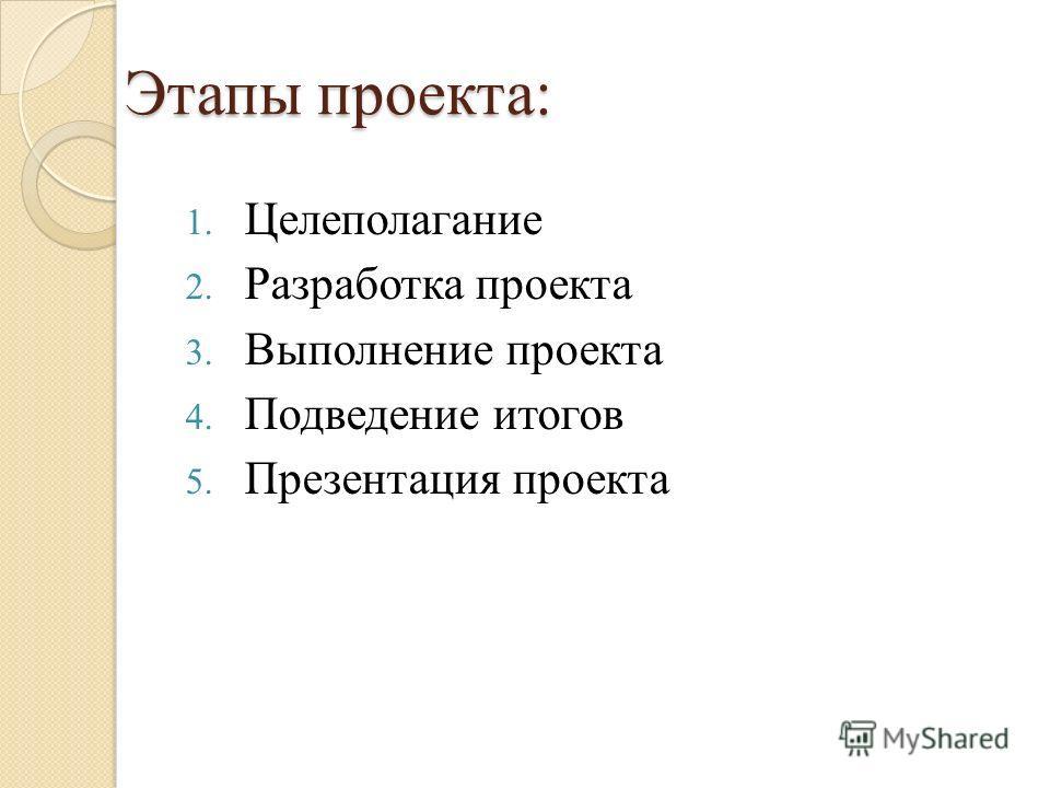 Этапы проекта: 1. Целеполагание 2. Разработка проекта 3. Выполнение проекта 4. Подведение итогов 5. Презентация проекта