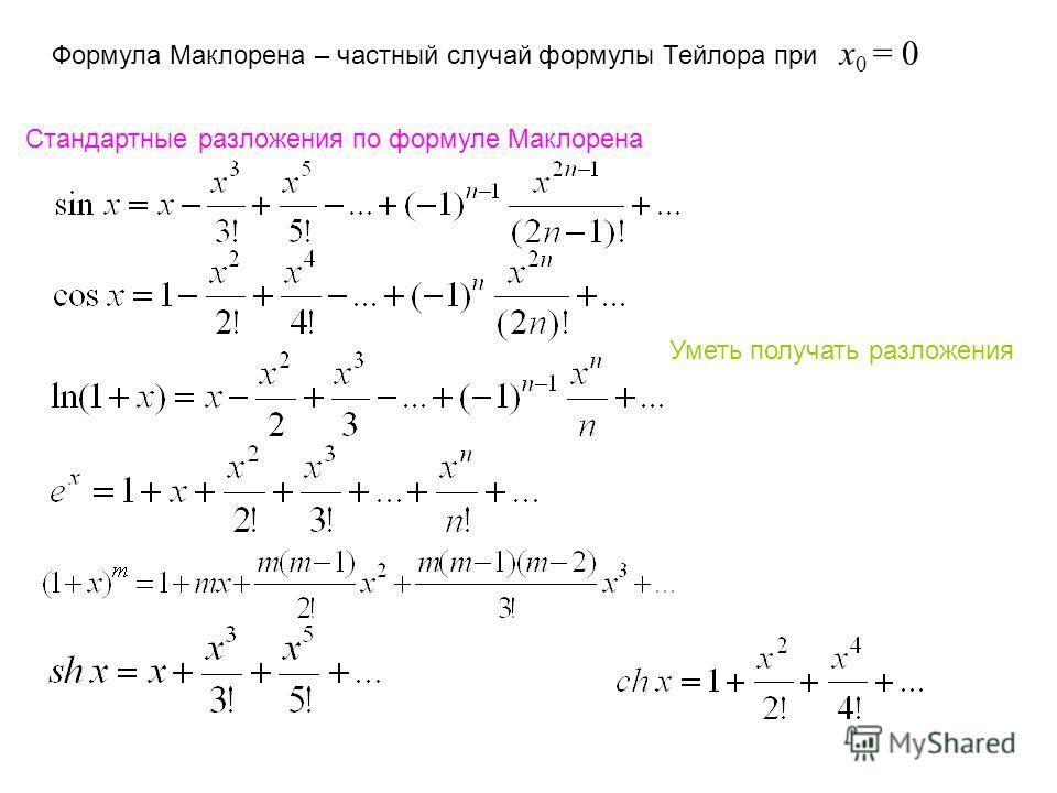 Стандартные разложения по формуле Маклорена Уметь получать разложения Формула Маклорена – частный случай формулы Тейлора при x 0 = 0