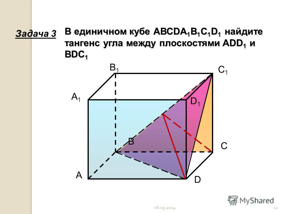 06.05.201412 А С В D А1А1 С1С1 В1В1 D1D1 В единичном кубе АВСDA 1 B 1 C 1 D 1 найдите тангенс угла между плоскостями ADD 1 и BDC 1 Задача 3
