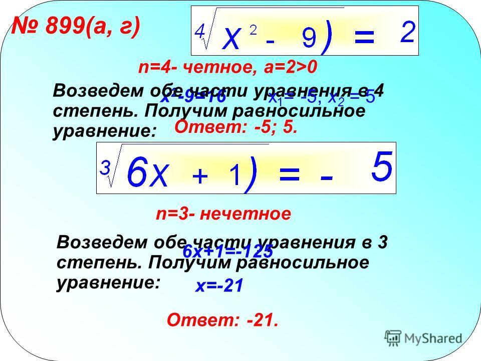 899(а, г) n=4- четное, a=2>0 x 2 -9=16 Возведем обе части уравнения в 4 степень. Получим равносильное уравнение: x 1 = -5, х 2 = 5 Ответ: -5; 5. n=3- нечетное Возведем обе части уравнения в 3 степень. Получим равносильное уравнение: 6x+1=-125 x=-21 О