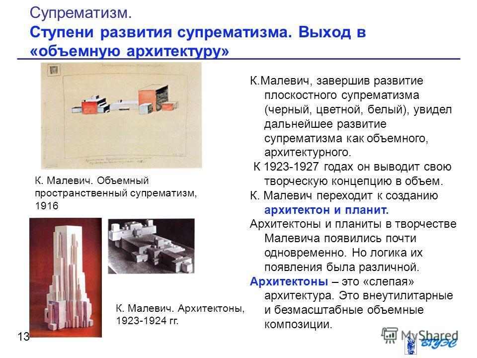 К.Малевич, завершив развитие плоскостного супрематизма (черный, цветной, белый), увидел дальнейшее развитие супрематизма как объемного, архитектурного. К 1923-1927 годах он выводит свою творческую концепцию в объем. К. Малевич переходит к созданию ар