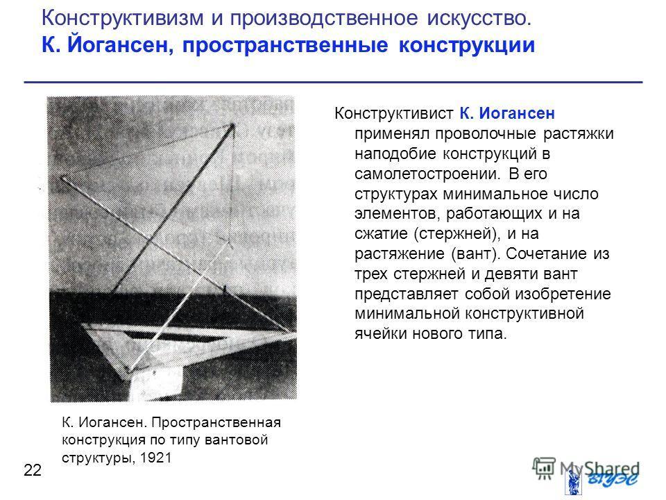 Конструктивист К. Иогансен применял проволочные растяжки наподобие конструкций в самолетостроении. В его структурах минимальное число элементов, работающих и на сжатие (стержней), и на растяжение (вант). Сочетание из трех стержней и девяти вант предс