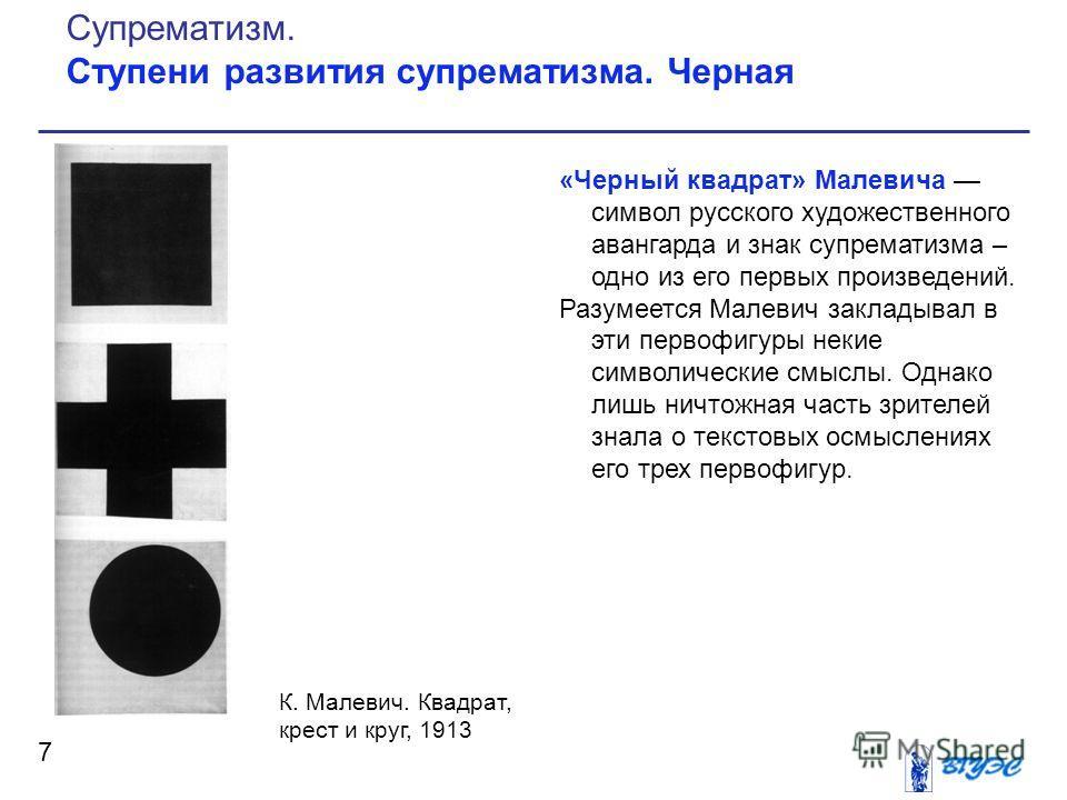 «Черный квадрат» Малевича символ русского художественного авангарда и знак супрематизма – одно из его первых произведений. Разумеется Малевич закладывал в эти первофигуры некие символические смыслы. Однако лишь ничтожная часть зрителей знала о текст