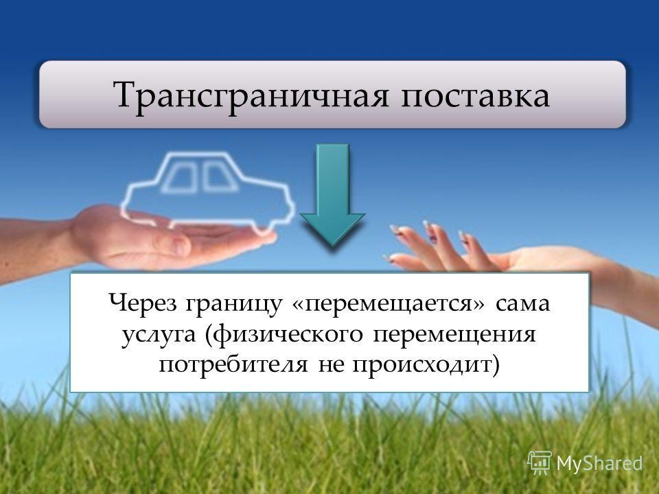 Трансграничная поставка Через границу «перемещается» сама услуга (физического перемещения потребителя не происходит)