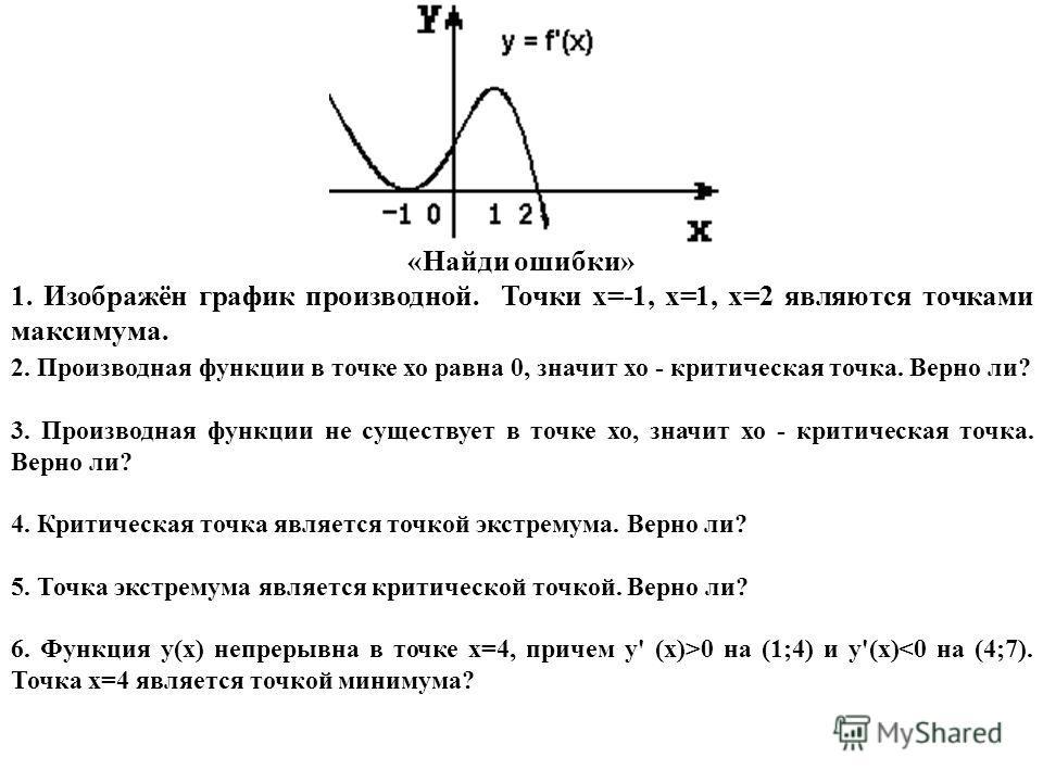 «Найди ошибки» 1. Изображён график производной. Точки х=-1, х=1, х=2 являются точками максимума. 2. Производная функции в точке хо равна 0, значит хо - критическая точка. Верно ли? 3. Производная функции не существует в точке хо, значит хо - критичес
