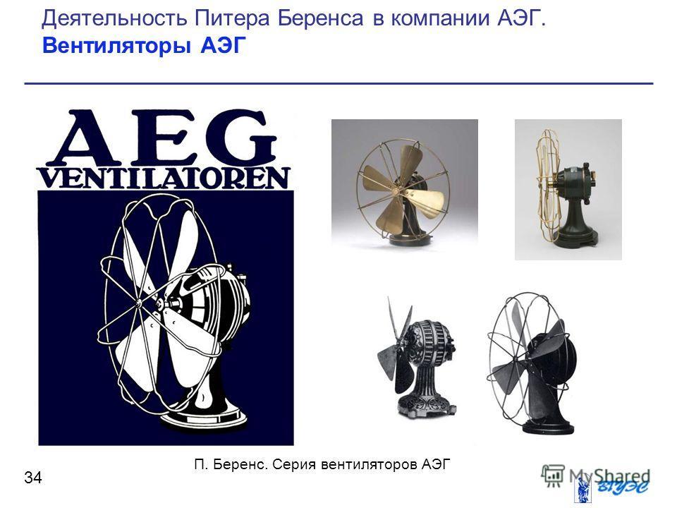 34 Деятельность Питера Беренса в компании АЭГ. Вентиляторы АЭГ П. Беренс. Серия вентиляторов АЭГ