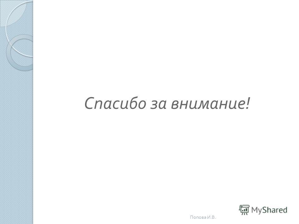Спасибо за внимание ! Попова И. В.